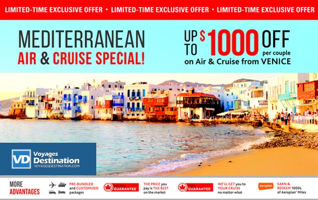 MEDITERRANEAN AIR & CRUISE SPECIAL! Up to $1000 off per couple from Venice!